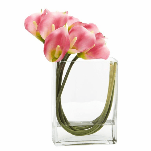12'' Calla Lily in Rectangular Glass Vase Artificial Arrangement - Pink