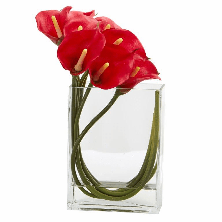 12�� Calla Lily in Rectangular Glass Vase Artificial Arrangement - Red