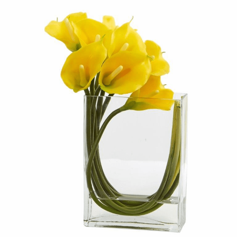 12�� Calla Lily in Rectangular Glass Vase Artificial Arrangement - Yellow