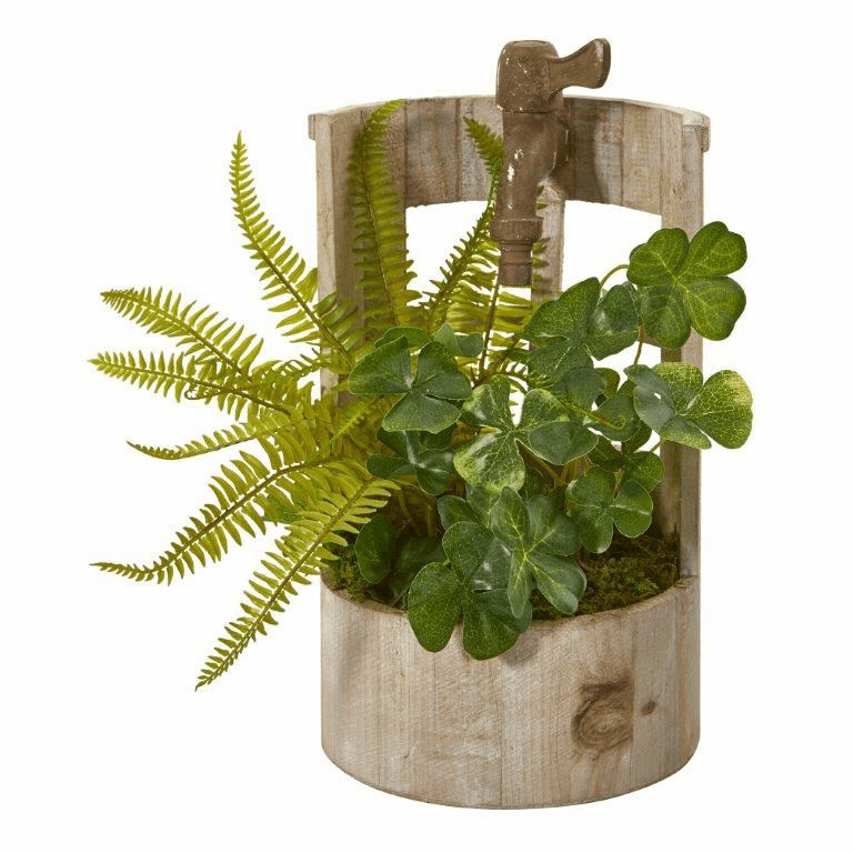 12� Clover and Fern Artificial Plant in Faucet Planter