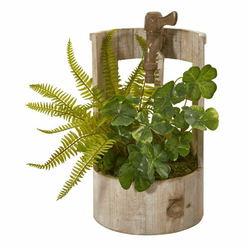 """12"""" Clover and Fern Artificial Plant in Faucet Planter"""