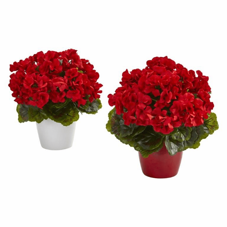 "12"" Geranium Artificial Plant in Ceramic Vase UV Resistant (Indoor/Outdoor) (Set of 2) - Red"