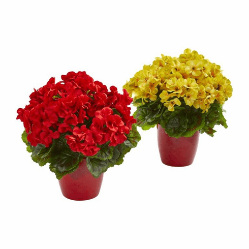 "12"" Geranium Artificial Plant in Ceramic Vase UV Resistant (Indoor/Outdoor) (Set of 2) - Red Yellow"
