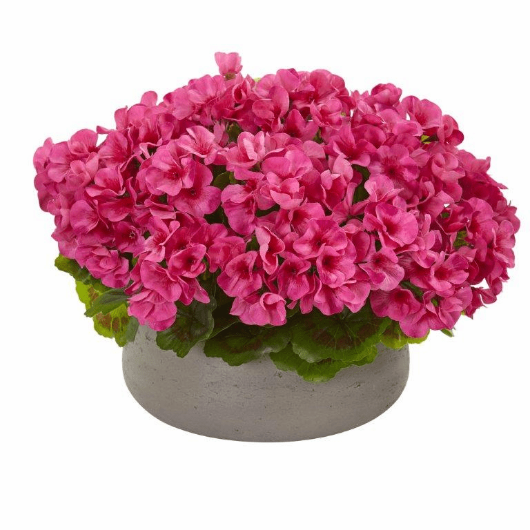 "12"" Geranium Artificial Plant in Stone Planter UV Resistant (Indoor/Outdoor) - Beauty"