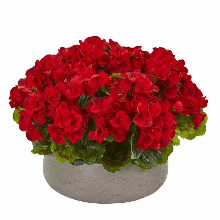 "12"" Geranium Artificial Plant in Stone Planter UV Resistant (Indoor/Outdoor) - Red"