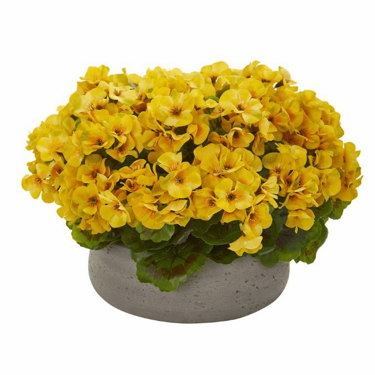 "12"" Geranium Artificial Plant in Stone Planter UV Resistant (Indoor/Outdoor) - Yellow"