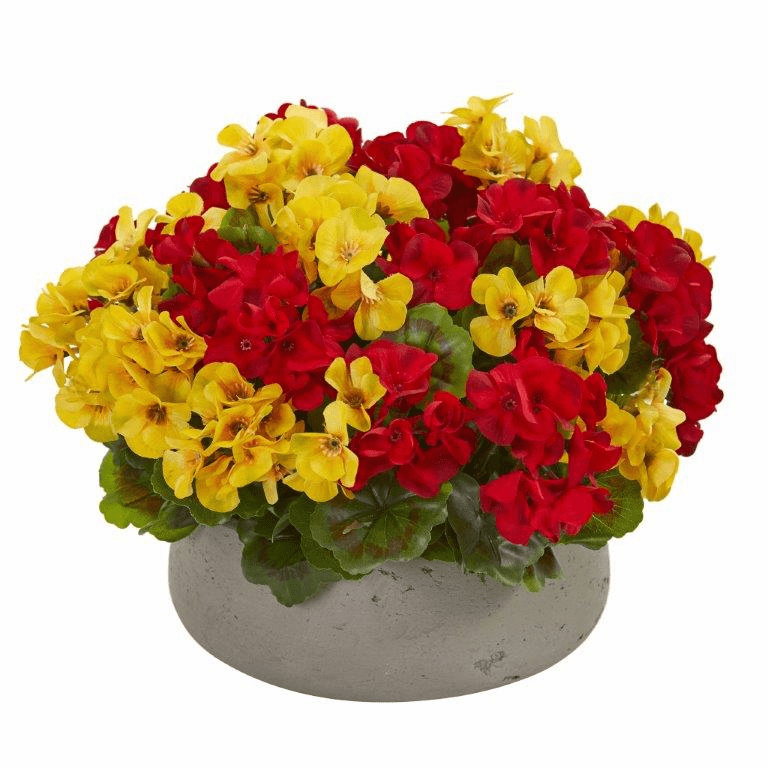 "12"" Geranium Artificial Plant in Stone Planter UV Resistant (Indoor/Outdoor) - Yellow Red"