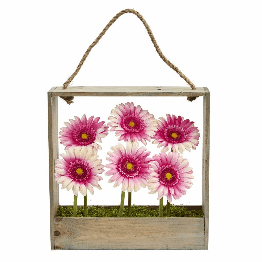 "12"" Gerber Daisy Garden Artificial Flower Arrangement in Hanging Frame"