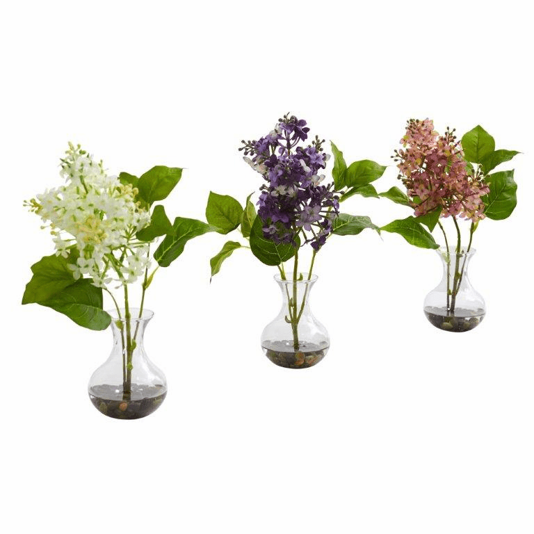 "12"" Lilac Artificial Arrangement in Vase (Set of 3)"
