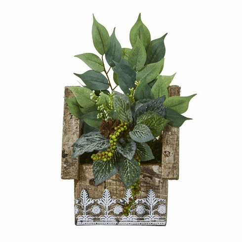 "12"" Mixed Ficus and Fittonia Artificial Plant in Hanging Floral Design House Planter"
