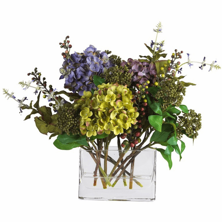 "12"" Mixed Hydrangea with Rectangle Vase Silk Flower Arrangement"