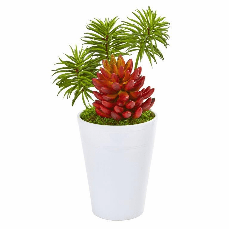 12� Mixed Succulents Artificial Plant in White Vase