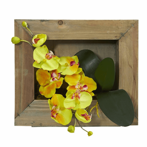 "12"" Phalaenopsis Orchid Artificial Flower Arrangement in Wooden Picture Frame"