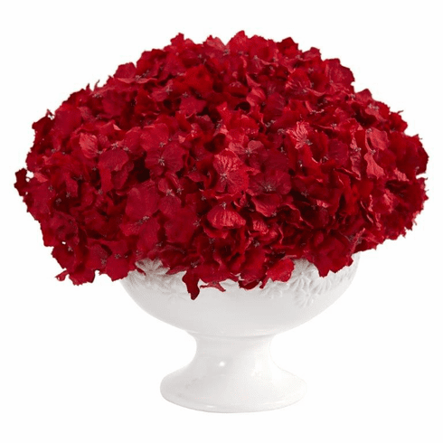 "12"" Red Hydrangea Artificial Arrangement in Pedestal Vase"