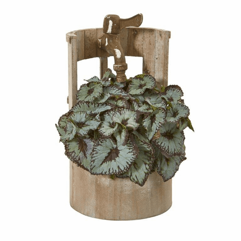 """12"""" Rex Begonia Artificial Plant in Faucet Planter"""