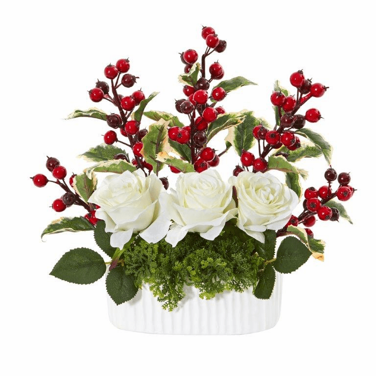 12� Rose and Holly Berry Artificial Arrangement in White Vase -