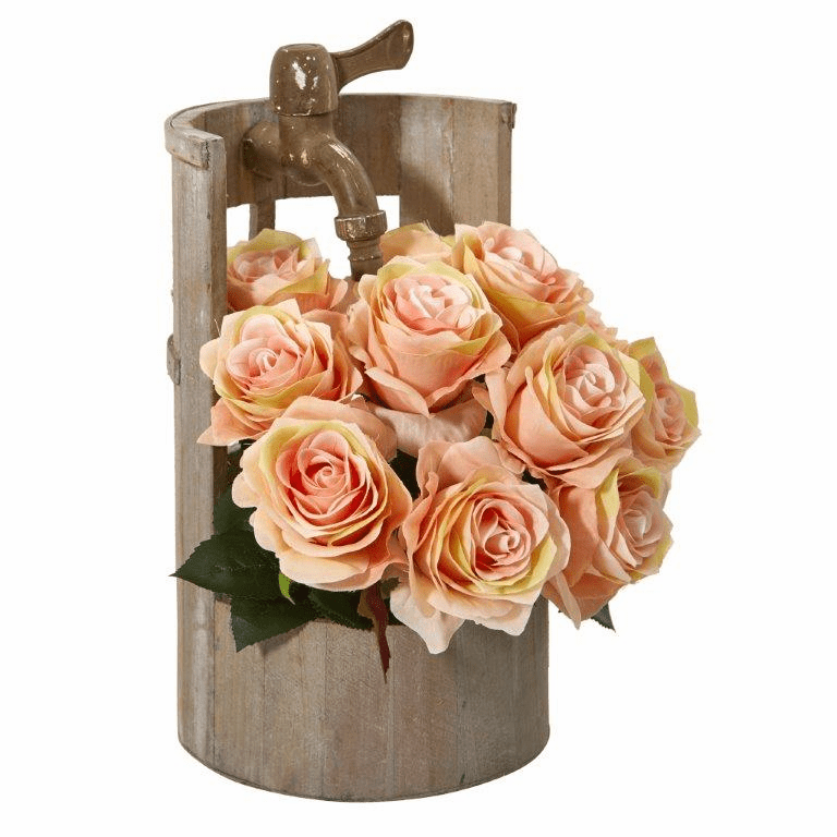 12� Rose Artificial Arrangement in Planter with Faucet - Peach