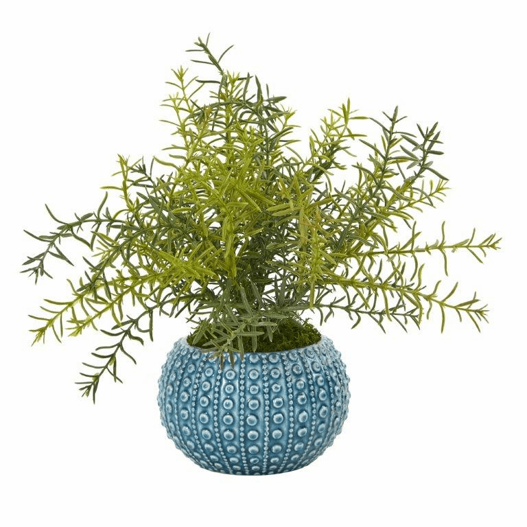 12� Rosemary Artificial Plant in Blue Planter