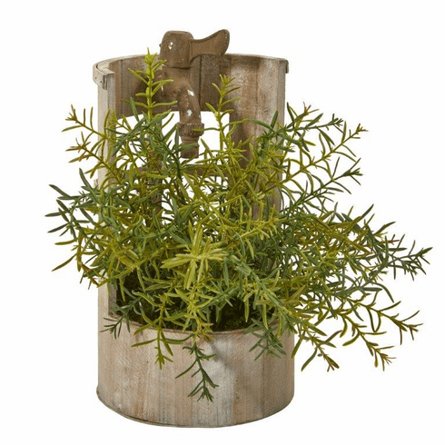 "12"" Rosemary Artificial Plant in Faucet Planter"