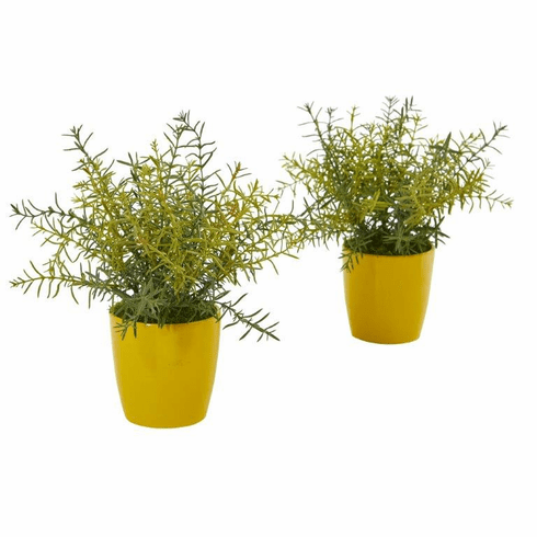 "12"" Rosemary Artificial Plant in Yellow Planter (Set of 2)"