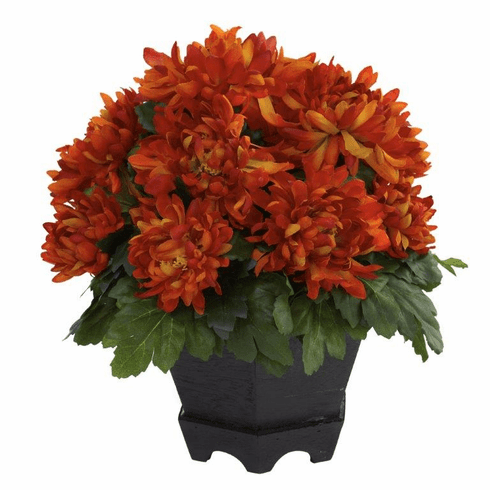 "12"" Silk Mum Flower Arrangement with Black Hexagon Planter"