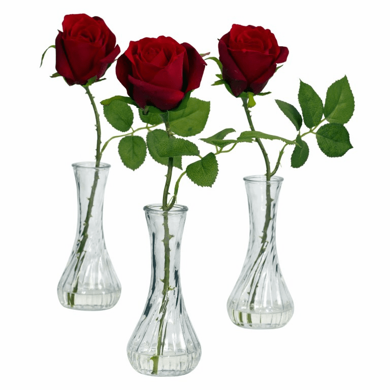 "12"" Silk Rose with Bud Artificial Arrangements (Set of 3)"