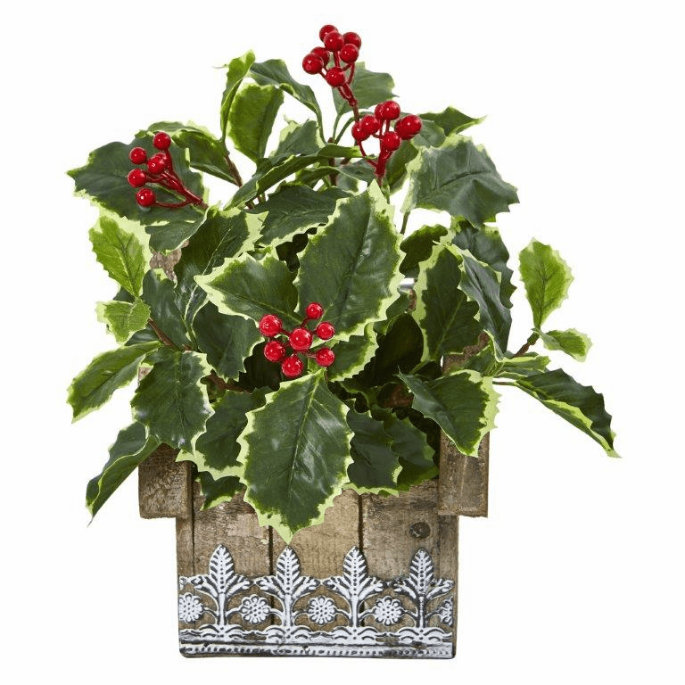 12� Variegated Holly Leaf Artificial Plant in Hanging Floral Design House Planter (Real Touch) -