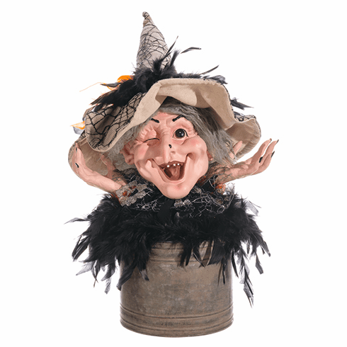 "12"" Witch's Head in Tin Pot Halloween Decoration"