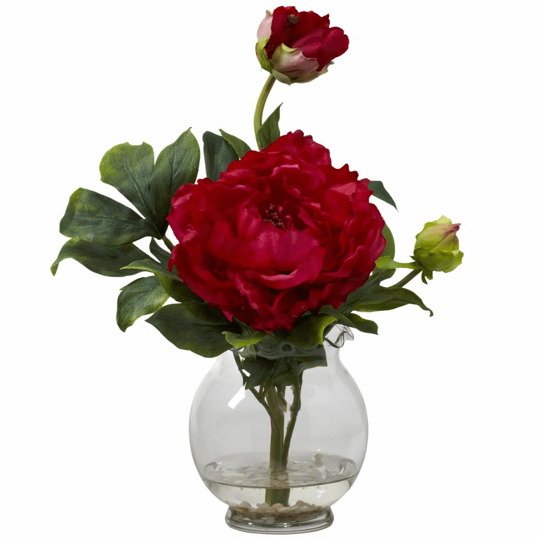 "13.5"" Peony with Fluted Vase Silk Flower Arrangement - Red"