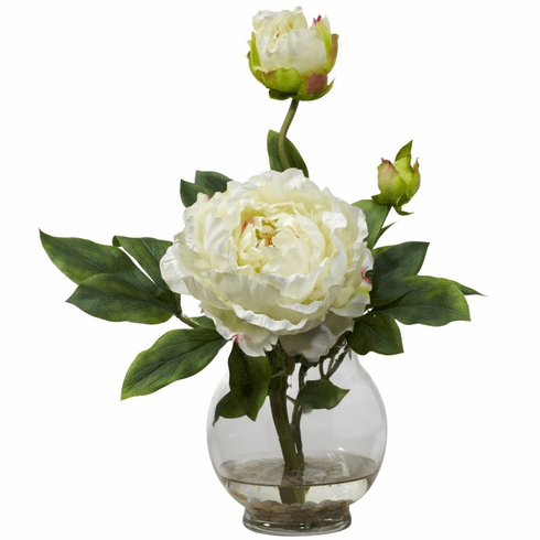 "13.5"" Peony with Fluted Vase Silk Flower Arrangement - White"