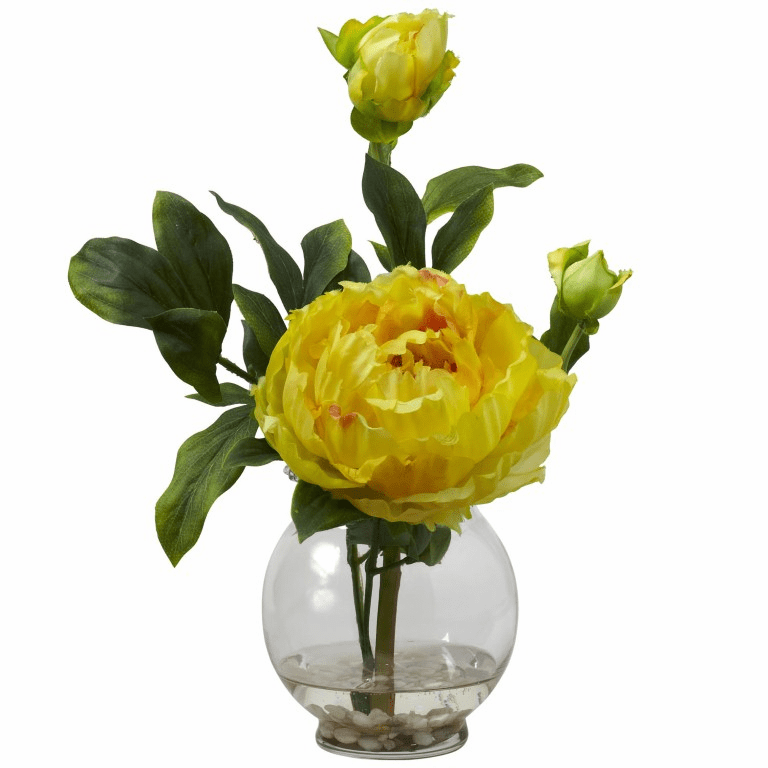 "13.5"" Peony with Fluted Vase Silk Flower Arrangement - Yellow"