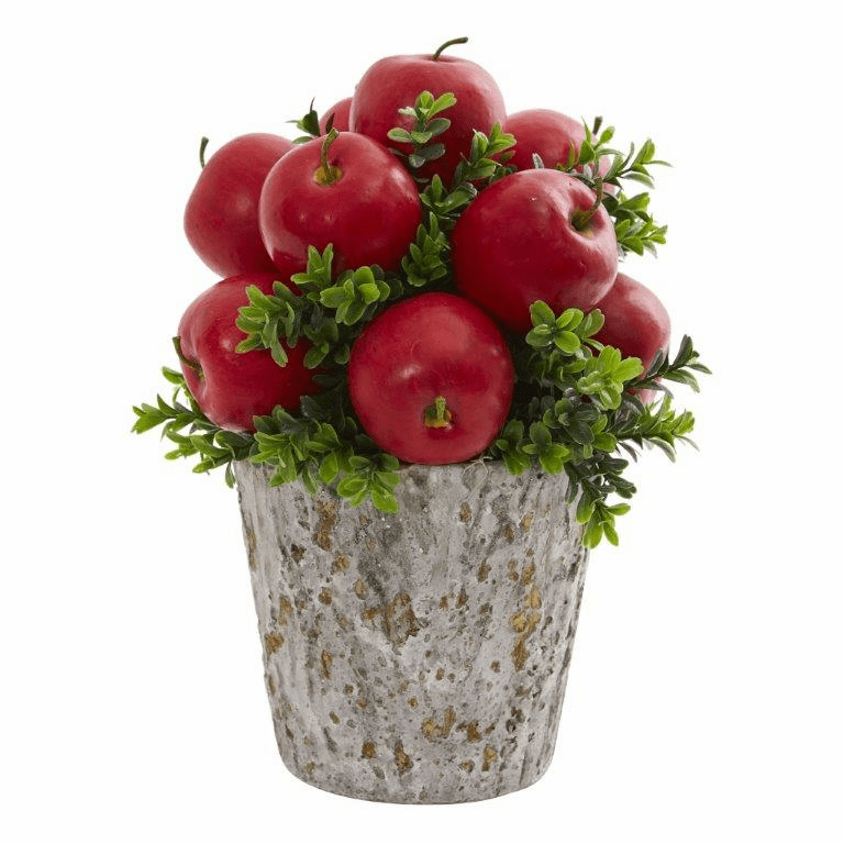 "13"" Apples and Boxwood Artificial Arrangement Weather Planter"