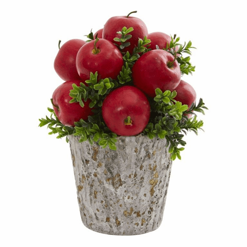 """13"""" Apples and Boxwood Artificial Arrangement Weather Planter"""