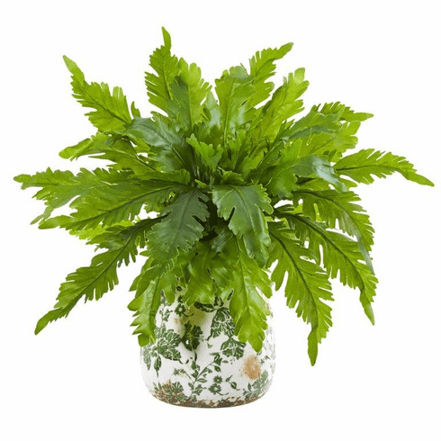 "13"" Fern Artificial Plant in Floral Vase"
