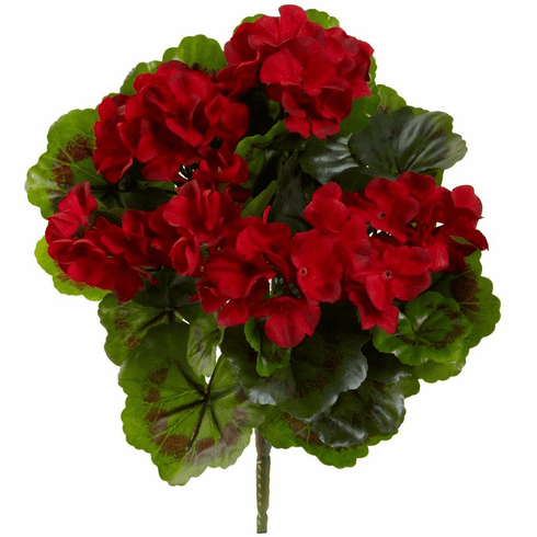"13"" Geranium Artificial Flower Bush UV Resistant - Indoor/Outdoor (Set of 4)"