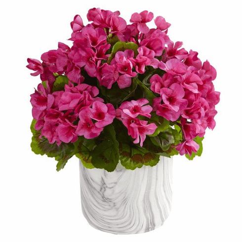 "13"" Geranium Artificial Plant in Marble Finished Vase UV Resistant (Indoor/Outdoor) - Beauty"