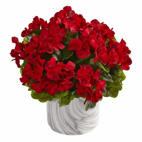 "13"" Geranium Artificial Plant in Marble Finished Vase UV Resistant (Indoor/Outdoor) - Red"