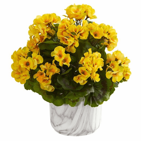 """13"""" Geranium Artificial Plant in Marble Finished Vase UV Resistant (Indoor/Outdoor) - Yellow"""