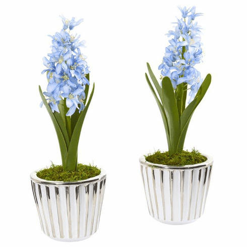 "13"" Hyacinth Artificial Arrangement in White Vase with Silver Trimming (Set of 2)"