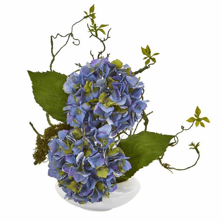 13� Hydrangea Artificial Arrangement in White Vase - Blue