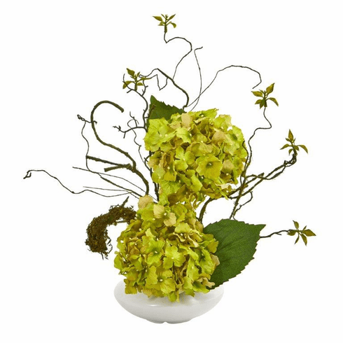 "13"" Hydrangea Artificial Arrangement in White Vase - Green"