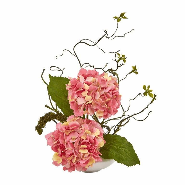 13� Hydrangea Artificial Arrangement in White Vase - Pink
