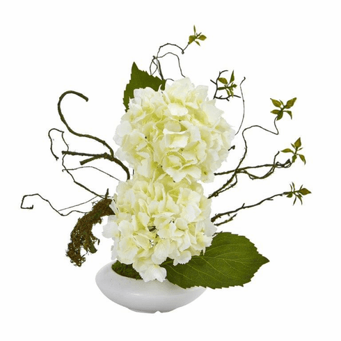 "13"" Hydrangea Artificial Arrangement in White Vase - White"