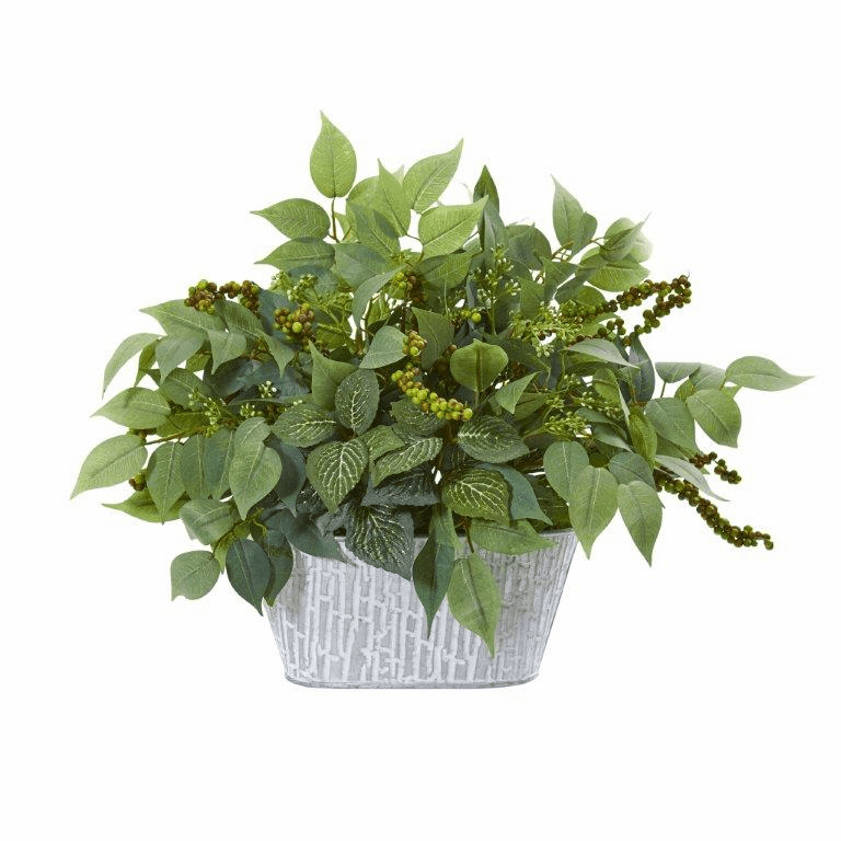 13� Mixed Ficus and Fittonia Artificial Plant in Decorative Planter