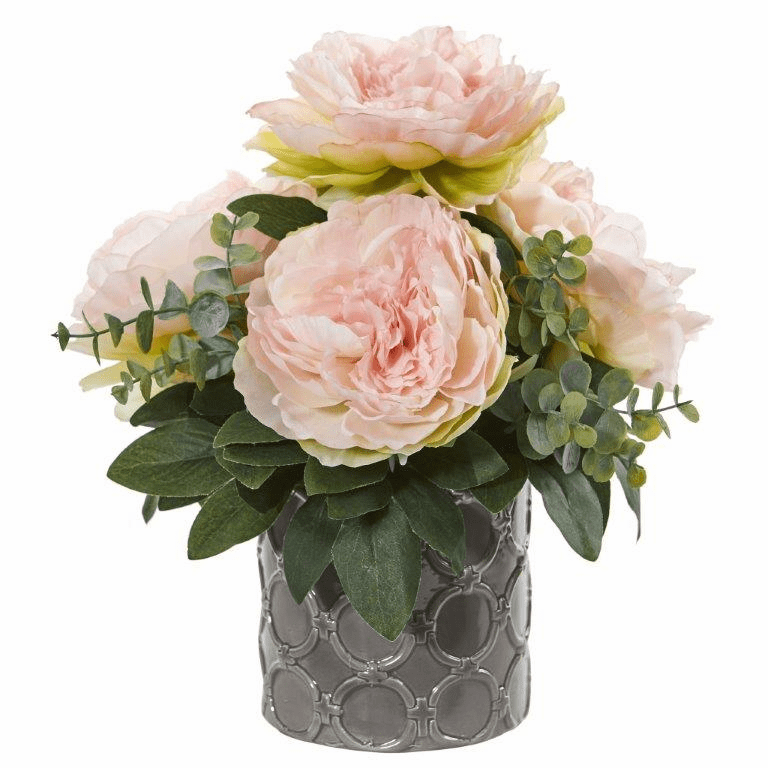 13� Peony and Eucalyptus Artificial Arrangement