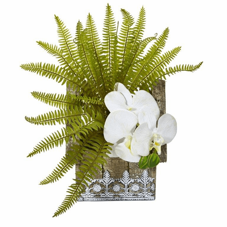13� Phalaenopsis Orchid and Fern Artificial Plant in Hanging Floral Design House Planter - White