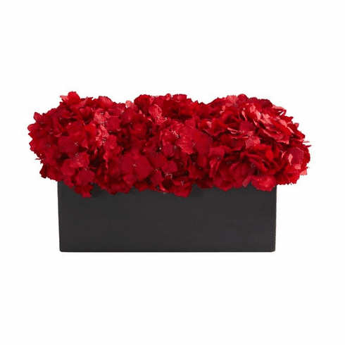 "13"" Red Hydrangea Artificial Arrangement in Ceramic Vase - Black"