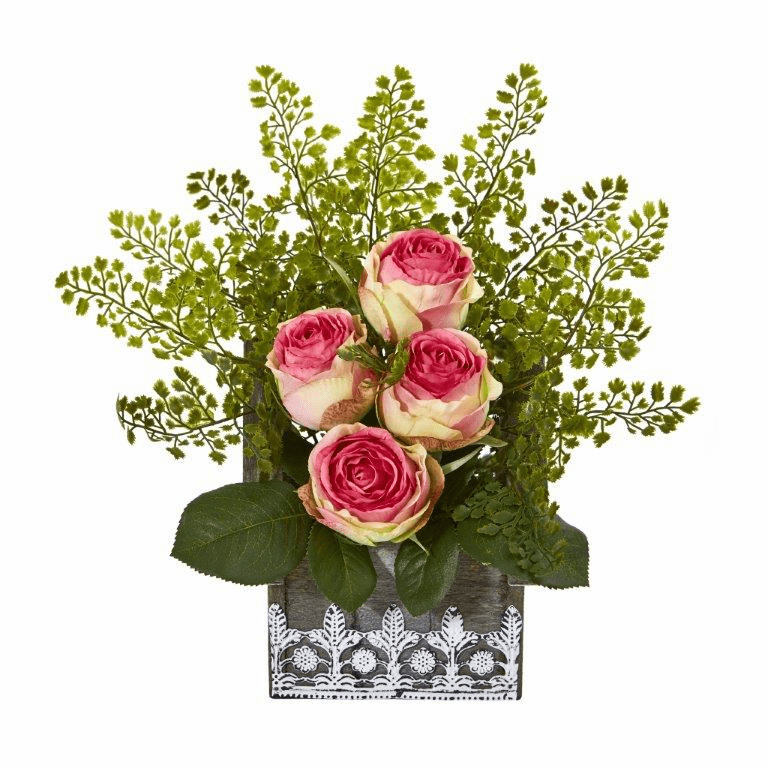 13� Rose and Maiden Hair Artificial Arrangement in Hanging Floral Design House Planter - Fucshia