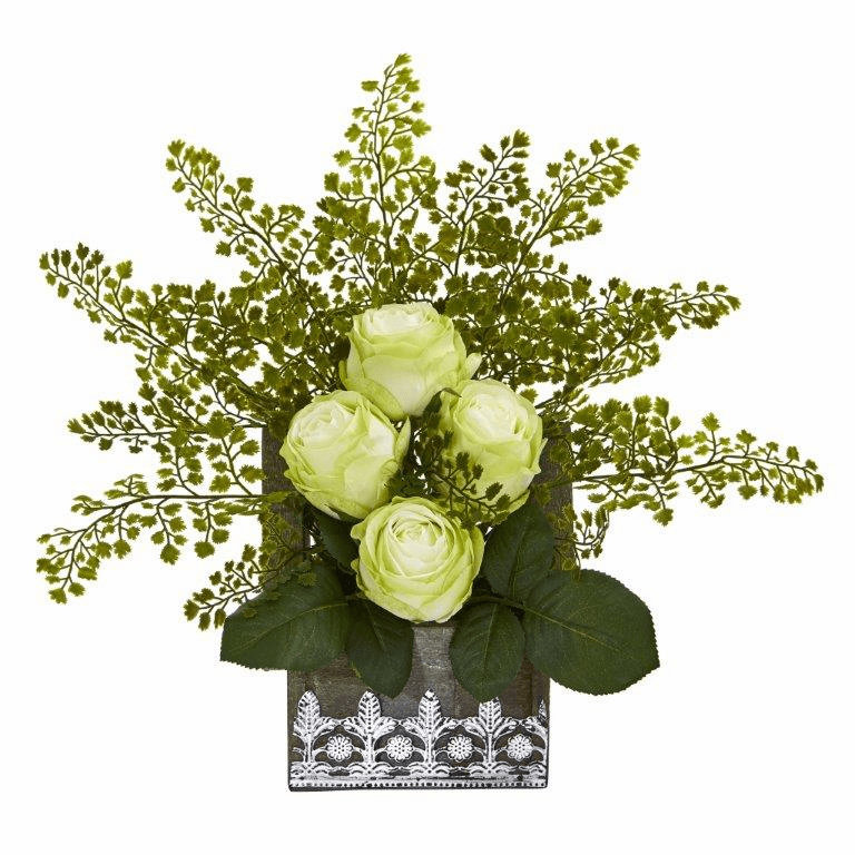 13� Rose and Maiden Hair Artificial Arrangement in Hanging Floral Design House Planter - Green