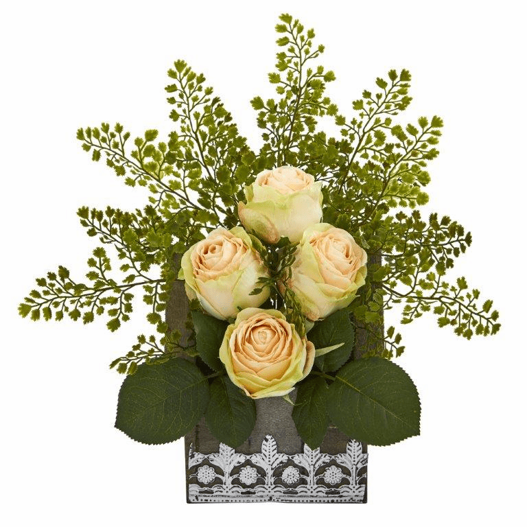 13� Rose and Maiden Hair Artificial Arrangement in Hanging Floral Design House Planter - Peach